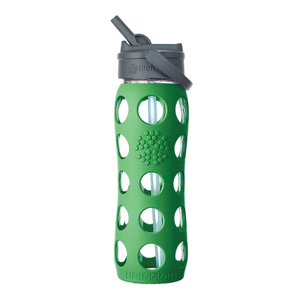 Glass Bottle 0.6 l with Straw Cap by Lifefactory in green