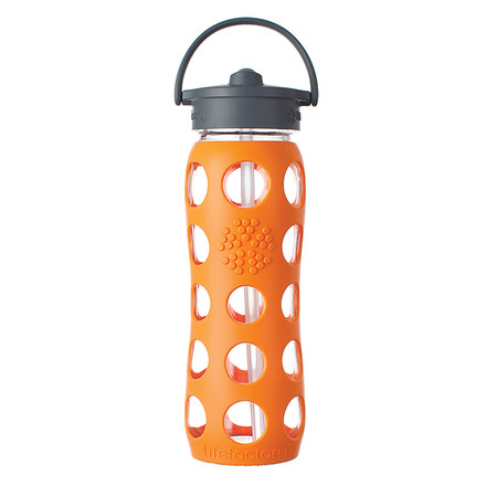 Glass Bottle 0.6 l with Straw Cap by Lifefactory in orange