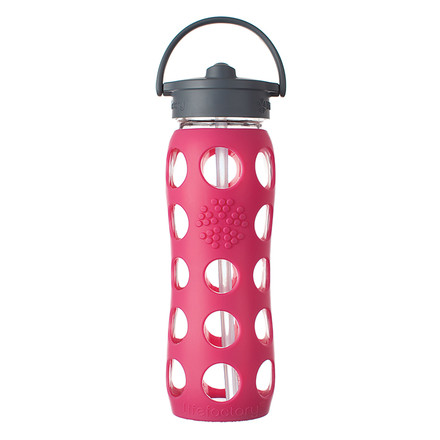 Glass Bottle 0.6 l with Straw Cap by Lifefactory in pink