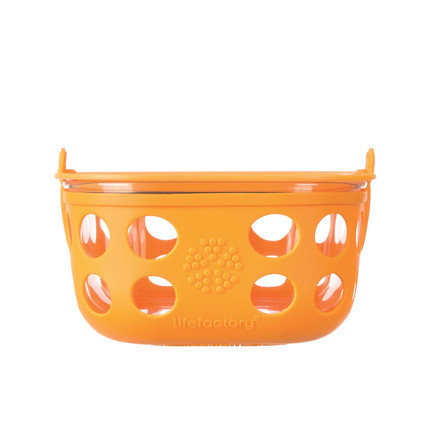 Glass Food Container 0.9 l by Lifefactory in orange