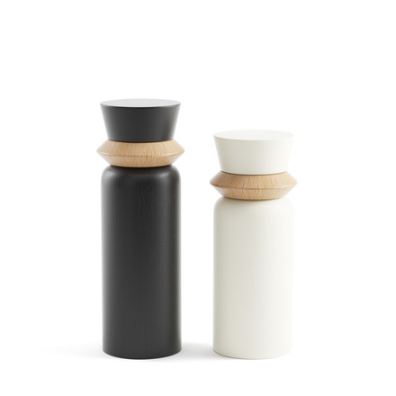Totem Mill salt and pepper mills (set of 2) by Tylko in white and black
