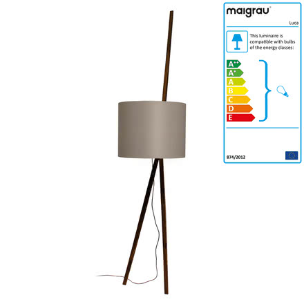 Luca lean lamp by Maigrau made of smoked grey oak