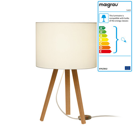 Luca table lamp by Maigrau made of natural white oak