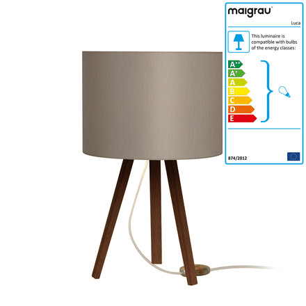 Luca table lamp by Maigrau made of smoked grey oak