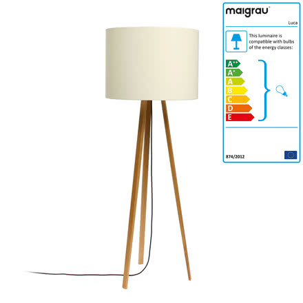 Luca Stand High floor lamp by Maigrau made of natural white oak