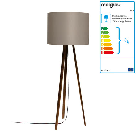 Luca Stand High floor lamp by Maigrau made of smoked grey oak