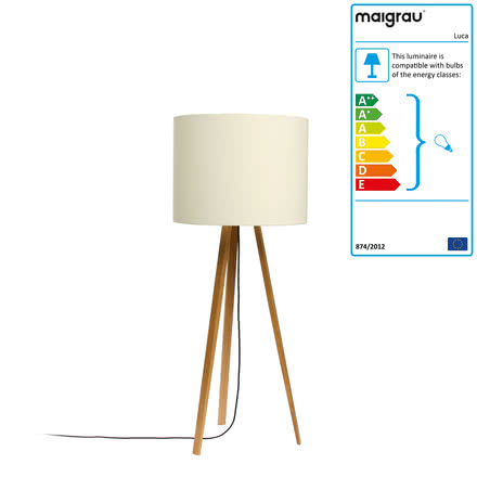 Luca Stand floor lamp by Maigrau made of natural white oak