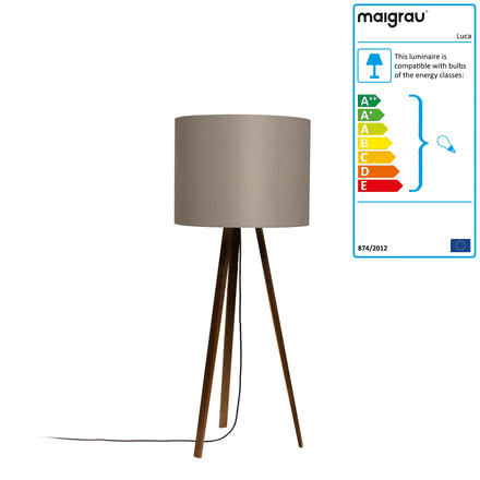 Luca Stand floor lamp by Maigrau made of smoked grey oak
