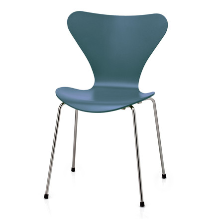 Fritz Hansen - Series 7 Chair, teal blue, lacquered, chromed, 46.5 cm