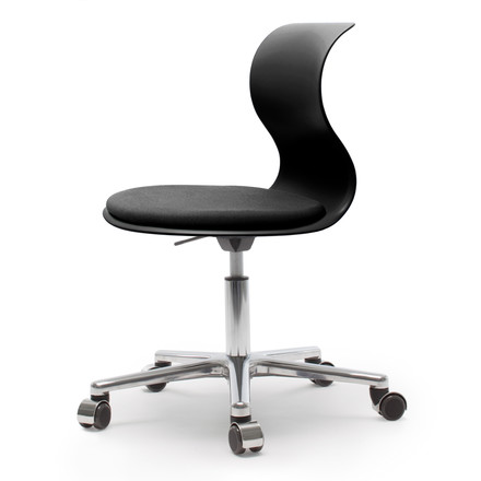 Flötotto - Pro 6 Swivel Chair, polished aluminium / graphite black, cushion granite black, soft casters (with polished cap)
