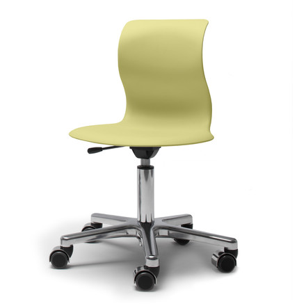 Flötotto - Pro 4 Swivel Chair polished aluminium, seat coral kiwi green, soft casters (with polished cap)