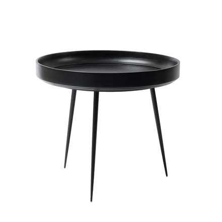 Bowl Table in large by Mater made from mango wood in black