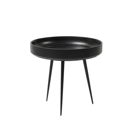 Bowl Table in small by Mater made from mango wood in black
