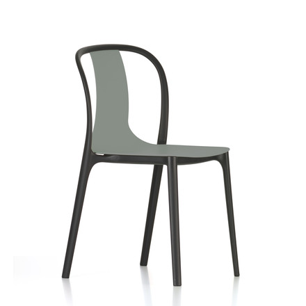 Belleville Chair Plastic by Vitra in moss grey