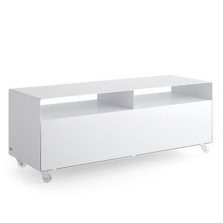 Müller Möbelfabrikation - R 109N Sideboard with door on castors, traffic white (RAL 9016)