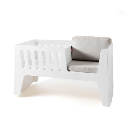 Rocky baby bed and cot by Jäll & Tofta in white with cushion in grey