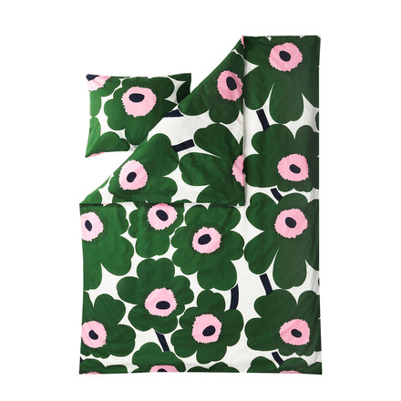 Unikko duvet cover and pillowcase by Marimekko in green