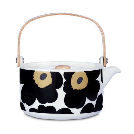 The Oiva Unikko Teapot by Marimekko in white / black