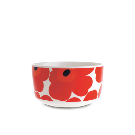 Oiva Unikko Bowl 500 ml by Marimekko in white and red