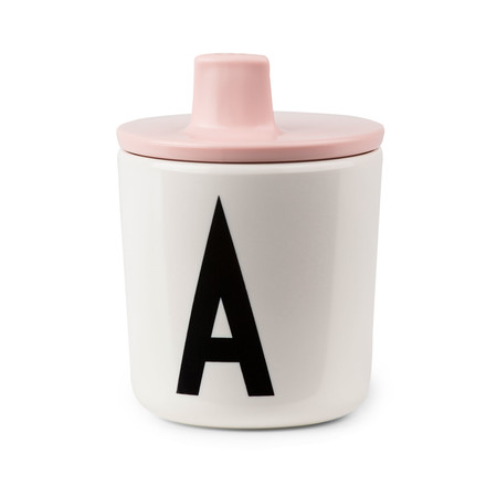 Design letters - AJ feeding mug with lid, pink