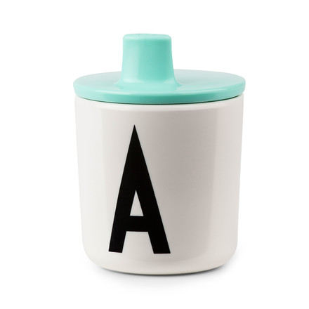 Design letters - AJ feeding mug with lid, turquoise