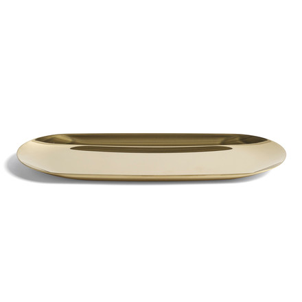 The tray in large with the size 23.5 x 9.5cm in gold