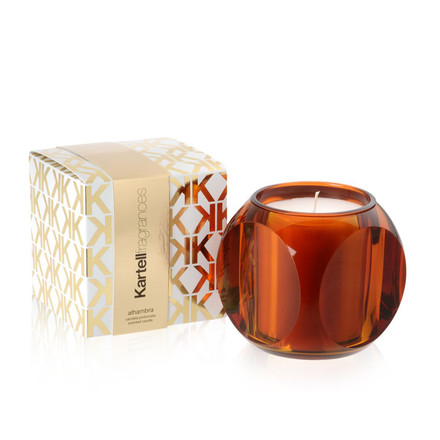 Scented candle Dice by Kartell in amber with the fragrance Alhambra