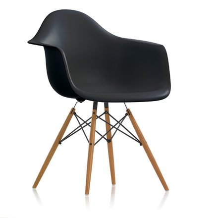Vitra - Eames Plastic Armchair DAW (H 43 cm), ash honey / basic dark, felt gliders white (hard floor)