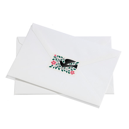 Sticker Dove by Vitra in green and pink on envelope