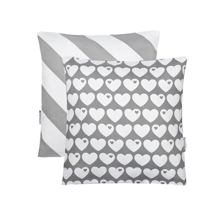 Reversible cushion cover Hearts 40 x 40cm from byGraziela in grey