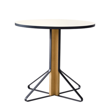 REB 003 Kaari Table Ø 80 cm by Artek in high gloss white made of natural oak
