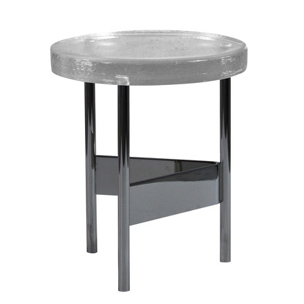 Alwa II Side Table by Pulpo with glass top in transparent