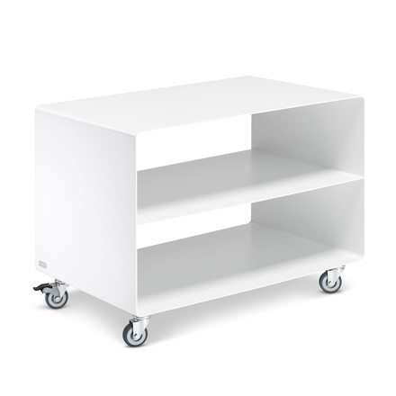 Müller Möbelfabrikation - RW 103 roll container with middle board, traffic white (RAL 9016)