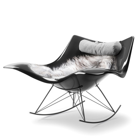 Stingray Rocking Chair with Sheepskin and Neck Cushion