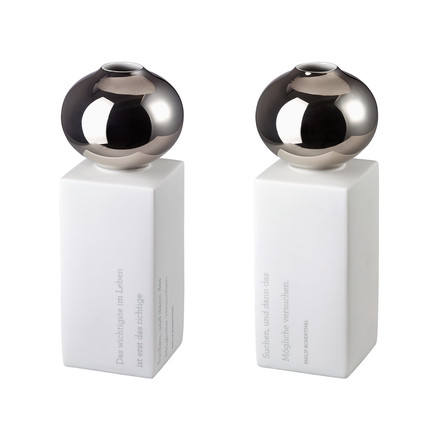 The Gedankenblitz Vases in glossy platinum, 26 cm by Rosenthal