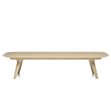 Elongated Zio coffee table by Moooi in oak cinnamon stained