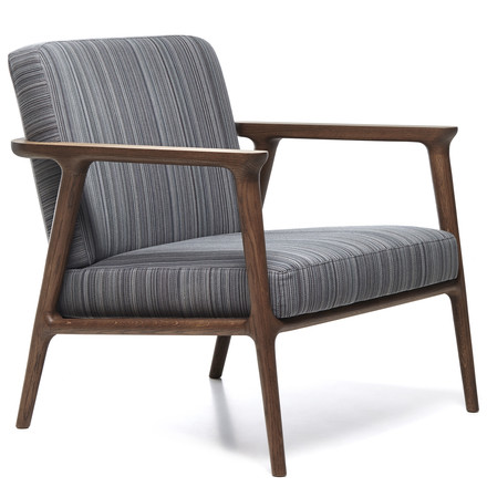 Moooi - Zio Lounge Chair, Oak cinnamon / cover Manga blue