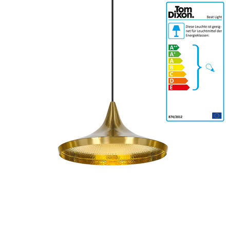 Beat Light Wide Pendant Lamp by Tom Dixon made of brass