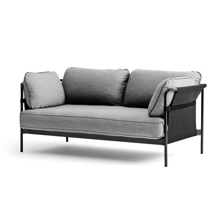 Hay - Can Sofa, 2-Seater, black / canvas grey / Surface 120 light grey