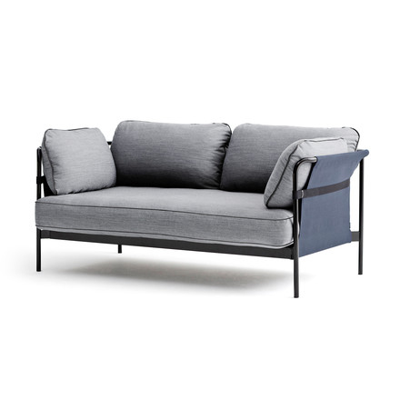 Hay - Can Sofa, 2-Seater, black / canvas blue / Surface 120 light grey