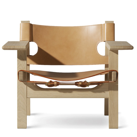 Spanish Chair by Fredericia in oak and natural saddle leather