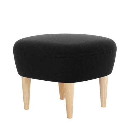 Wingback Ottoman by Tom Dixon made of oak with upholstery in black