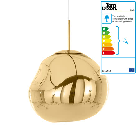 Melt Suspension Lamp by Tom Dixon in gold