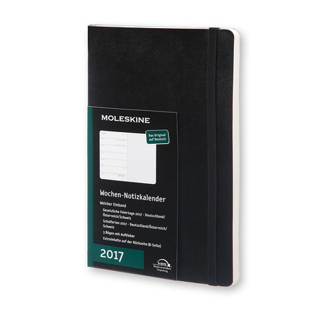 Moleskine - 12 Months Weekly Notebook 2017 (German), large A5, softcover black