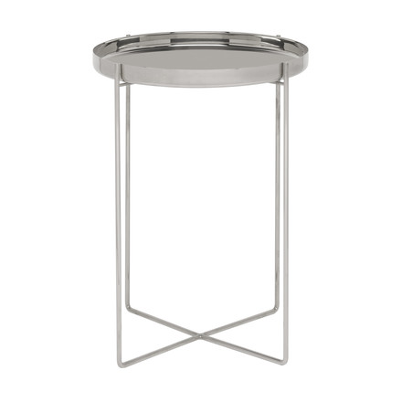 The CM05 Habibi Side Table H 47cm Ø 37cm in polished stainless steel