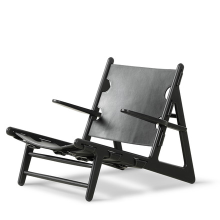 Hunting Chair by Fredericia made from soaped oak and natural saddle leather in black