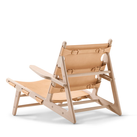 Hunting Chair by Fredericia made from soaped oak and natural saddle leather