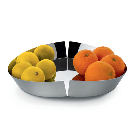 Broken Bowl Fruit Bowl by Alessi in polished stainless steel with fruits