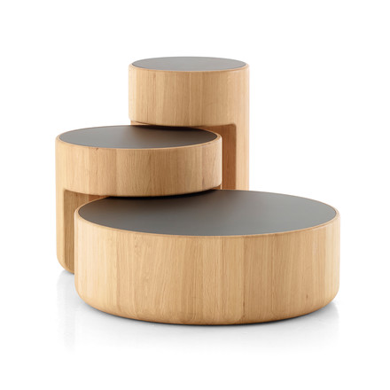 Peruse - Levels Nesting Tables, set of 3, Oak oiled / black (RAL 9005)