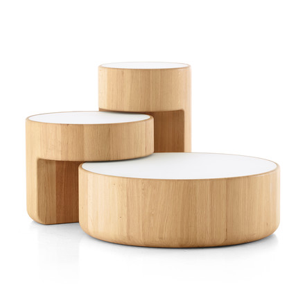 Levels Nesting Tables, set of 3 in oiled oak / white (RAL 9003) by Peruse